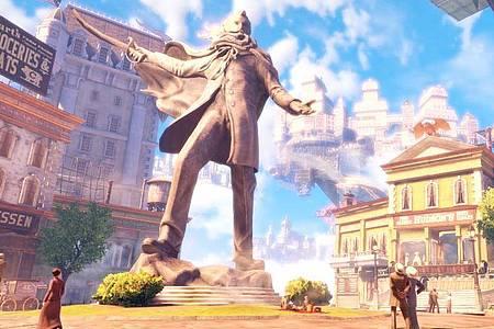 Trügerisches Idyll: Schauplatz von «Bioshock Infinite» ist die schwebende Stadt Columbia, die aber nur auf den ersten Blick ein Paradies ist. Foto: 2K Games/dpa-tmn