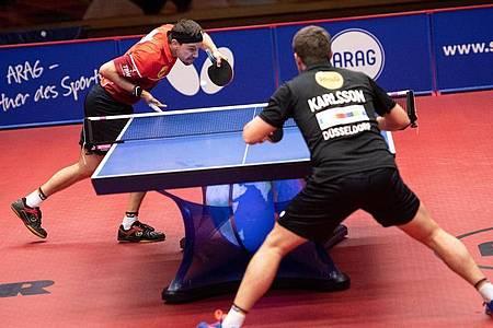 Timo Boll besiegte im Halbfinale den Schweden Kristian Karlsson in 3:1 Sätzen. Foto: Marius Becker/dpa