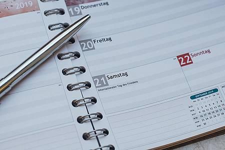 Kugelschreiber liegt auf Ringbuchkalender
